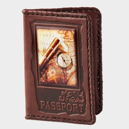 Обложка для паспорта (натуральная кожа) с художественной вставкой 009-08-04М