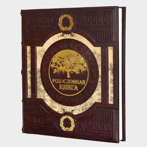 Родословная книга (натуральная кожа) с художественной вставкой 030-08-01