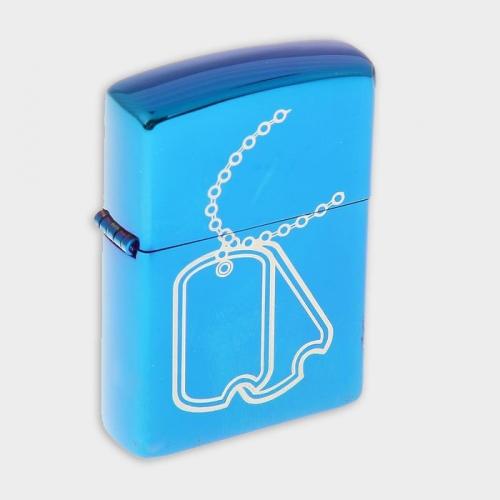 Зажигалка «Жетон» в картонной коробке, кремний, бензин, синяя 4*5,5 см