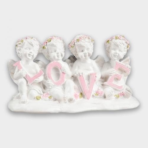 """Статуэтка """"Ангелы LOVE"""" с розовой отделкой"""